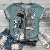 2021 Plus Size Lovely Cat Stampa manica corta T-shirt donna girocollo girocollo Y2K grafico tee top ladies abbigliamento animale harajuku tshirt