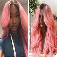 الوردي شعر الإنسان لمة أومبير اللون فضفاض متموج البرازيلي ريمي الشعر الدانتيل الجبهة الباروكات شحن مجاني