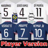 Jordan PSG Player versão SERGIO RAMOS Camisa de futebol Paris Saint Germain MBAPPE HAKIMI NEYMAR JR 21 22 Camisa de camisa de futebol 2021 2022 MARQUINHOS VERRATTI