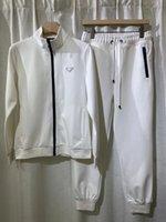 Bahar ve Antumn En Kaliteli Erkekler Pamuk Eşofman Slongsleeve Rahat Sportsuit Asya Boyutu M-3XL Siyah Beyaz Renk