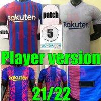 2021 2022 Homens Barcelona Futebol Jerseys Kun Aguero 21 22 Versão do jogador Messi Camiseta Futbol Grisezmann de Jong Schild Est Futebol