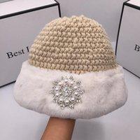 Sombreros de ala ancho Paño de invierno ABB Punto de punto Hombro de cuenca de cuenca para mujer Cúpula japonesa de moda