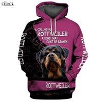 Moda Bir Kız Ve Onu Rottweiler Köpek 3D Baskı Hoodie Erkek Kadın Kazak Rahat Pet Köpek Tasarımları Kapşonlu Coat Drop Shipping 201116