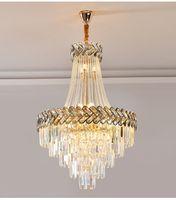 الفاخرة الحديثة الكريستال الثريا لغرفة المعيشة الذهب لوفت سلسلة ضوء تركيبات كبيرة درج كريستال مصباح ديكور المنزل الإضاءة