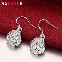 Dangle Avize Aglover 32mm 925 Ayar Gümüş Romantik Gül Çiçek Bırak Küpe Kadınlar için Moda Glamour Takı Hediyeler