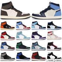 Top Mens Sapatos de Basquete 1s High OG Obsidian Royal Toe UNC Tie Tye Pine Turbo Verde Bloodline 1 Homens Mulher Trainers Esportes Sneaker