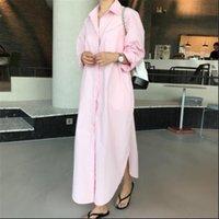 2021 أزياء جديدة فضفاضة رفض طوق قميص نوع اللباس عارضة الخريف الكامل الأكمام مقطع طويل المرأة الملابس BC1002