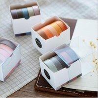 Etiqueta da escola cool adesivo 5 pçs / set 10mm * 5m cor sólida cor adesiva fita adesiva DIY Decorativo Scrapbook Artigos de papelaria Fitas de escritório 2016 EWA7592