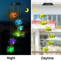Solar Lamps Colorful Power Wind Chime Garden Hanging Bee Waterproof Outdoor Windchime Spinner Light For Patio Yard LED