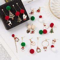 Stud Santa Claus Earring Christmas Gold Color Snowflake Ear Studs Lovely Tree Earrings Jewelry For Women Accessories Gifts D9