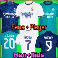 Real Madrid Jerseys 21 22 Camisas de futebol de futebol Alaba Hazard Benzema Asensio Modric Marcelo Camiseta Men + Kids Kit 2021 2022 Uniformes Quarta Versão do Jogador de Fãs