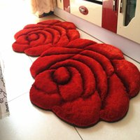 Carpets 70X140CM 3D Rose Rugs For Bedroom Modern Europe And Thicken Stretch Yarn Doormat Floor Mat