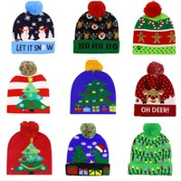 Christmas Day Gifts Snowman Xmas Elk Tree Flanged Knitted Party Hat with Balls and LED Colorful Lights Decorative Hats 9301