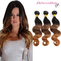 Ombre 1B-4-30 Virgin Remy Brazilian Human Hair Extensions 3 Bundles Deal Peruvian Malaysian Indian Body Wave Three Tone Color Weave Double Wefts For Black Women