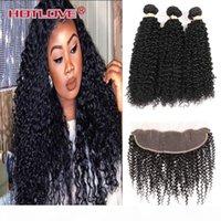 HotLove 13x4 кружева лобное закрытие с расслоениями индийские странные кудрявые швейцарские кружевные волосы девственницы с 3 шт. Человеческие пакеты волос