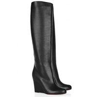 """Зимние длинные сапоги красные дна высокий париж роскошные женщины клинья каблуки """"Zepita"""" теленокскин замша натуральная кожа ботинок черный высокое качество"""