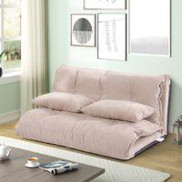 침실 가구 폴리 에스터 패브릭 의자 가변 핑크 소파 침대 라운지 바닥 베개가있는 매트리스 게으른 남자 소파