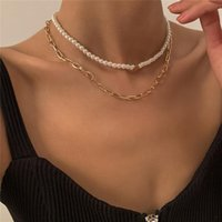 Chokers Ailodo Pearl Chain Heart Necklace For Women Gold Silver Color Thick Chian Statement Collier Femme Jewelry Gift