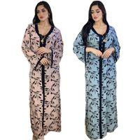 Этническая одежда Дубай роскошные женские вечеринки напечатанные робовые платья африканский свободный большой размер турецкий исламский арабский кафтан Абая