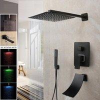 Badezimmer Dusche Sets 8/16 Zoll Matte Black Rainfall Wasserhahn Badewanne LED Badewanne Regen Quadrat Kopf Wasserfall Spray Set