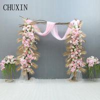 Decorative Flowers & Wreaths Custom Butterfly Orchid Golden Leaf Artificial Flower Row Wedding Arch Floral Arrangement Decor Home Party Scen