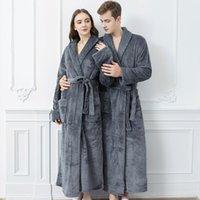 Women's Sleepwear Pajamas Autumn And Winter Flannel Robes Medium Length Large Thickened Men's Bathrobes Spring