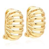VAROLE Hollow Clip-on Screw Back Earrings For Women Stripe Without Piercing Ear Cuff Gold Color Earring Fashion Jewelry Boucle Oreille Femme
