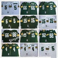 Урожай NCAA колледж футбольный футбол Джерси мужчины 4 BRETT Favre 5 Paul Hornung 15 Bart Starr 66 Ray Nitschke 92 Reggie 1969 1993 белый зеленый сшитые трикотажные изделия