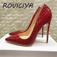 Marca Moda Ponthed Toe Red 12cm High-Heeled Requintado Sapatos Senhoras Party QP073 Roviciya 210610