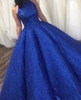 Игристые королевские голубые вечерние платья 2021 Новые Дубаи Формальные платья Сексуальная Высокая шейка вечеринки Платье выпускного вечера Арабский Ближний Восток