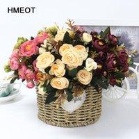 Decorative Flowers & Wreaths 1 Bouquet 9 Head Artificial Silk Cloth Fake Leaf Peony Floral Home Wedding Party Decor Blue Tea Rose Small
