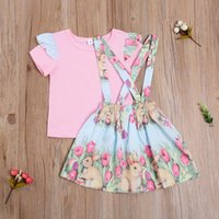 Clothing Sets Summer Toddler Baby Girl Ruffled Short Sleeve Pink Top T-Shirts Easter Suspender Skirt 2pcs Outfits Set Clothes 1-4Years