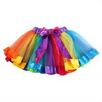 Été Sweet Kids Baby Femmes Jupe Jupe Fille Rainbow Patchwork Tulle Tulle Boule Robe Tutu Beautiful Girls Dancewear Ballet Pettiskirt Deux Jupes de danse