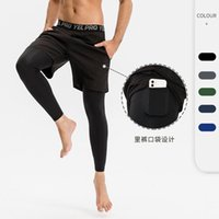 Men's Shorts EUR Hi-Q Fake Two-Piece Long Training Men Sports Pants Quick-Drying Elastic Tight Running Fitness With Pockets