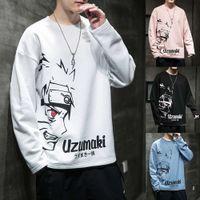 Japão desenhos animados camiseta homens casuais hip hop impressa camisas outono alta rua tops lã naruto manga longa t-shirt