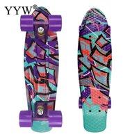2021 Neue Mini Cruiser Skateboard 22 Zoll Skateboard für Erwachsene Kinder Galaxy Gedruckt Longboard Outdoor Sports Vier Räder Board