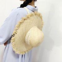 Correas de encaje Bordes crudos Bigmed Raffia Sombreros de paja Sombreros Sol salvajes Sombreros Mujeres Vacaciones Playa Sombreros Marea de verano
