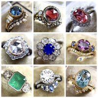 30pcs lot mixed Fashion Natural Stone Jewelry Silver&Gold plated Crystal Brand Luxury Promise Silver Engagement Ring Vintage Bridal Wedding Rings for Woman