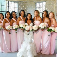 Bridesmaid Dress One Shoulder Pink Dresses African Strapless Straight Satin Wedding Party Zipper Up Back Long Prom Gown