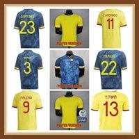 Oyuncu Sürümü 2021 2022 Kolombiya Futbol Formaları 21 22 Kolombiya Erkekler Camiseta de Futbol James Falcao Cuadrad Valderrama Futbol Gömlek