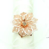 Bague de serviette en forme de fleur Bague de serviettes de métal Boucle Anneaux Hotel Mariage Partie de la fête Decoration Serviettes Toutelles Décor Buckles Multi couleurs NHF8600