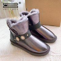 Moda skóra owcze skóry kobiety kostki buty zimowe dla kobiet naturalne futro wyłożone krótkie buty śniegowe metalowe buty śniegu wodoodporne i0hb #