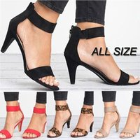 Sandals Women Open Toe Summer Shoes With High Heels Ankle Strap Female Thin Heel Zipper Plus Size Sandalias Mujer