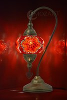 Table Lamps MOZAIST Turkish Lamp, Swan Neck Mosaic Moroccan Decorative Glass Antique Bohemian Vintage Light Shade, Tiffany Desk