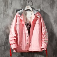 Men's Jackets Men Denim And Coats Loose Casual Jeans Good Quality Cotton Hooded Autumn Pink