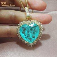 Wong Yağmur 925 Ayar Gümüş Aşk Kalp Paraiba Turmalin Zümrüt Gemstone Sarı Altın Sarkık Kolye Güzel Takı Toptan 210315