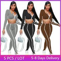 Women's Two Piece Pants Wholesale Items Striped Tracksuit Women Fitness Casual Matching Sets Fall Clothes Sportswear Crop Top And Leggings S