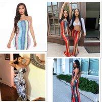 Tasarımcılar Kadınlar Rahat Elbiseler Yaz Seksi Wrap Büstü Uzun Etek Moda Kravat Boya Baskı Kapalı Omuz Elbise 2021