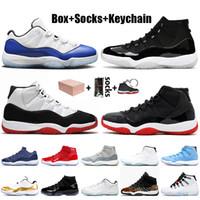 Nike air jordan 11 11s jordan retro 11 stock x Con la caja 25 Aniversario de plata metálico de Jumpman del Zapatos retro Basketbal Bred mujeres de los hombres zapatillas