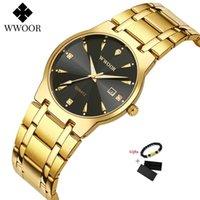Armbanduhren Wwoor Datum Uhr 50m Wasserdichte Herrenuhren Top Gold Schwarz Quarzuhr Männer Armbanduhr Goldene männliche Handgelenk